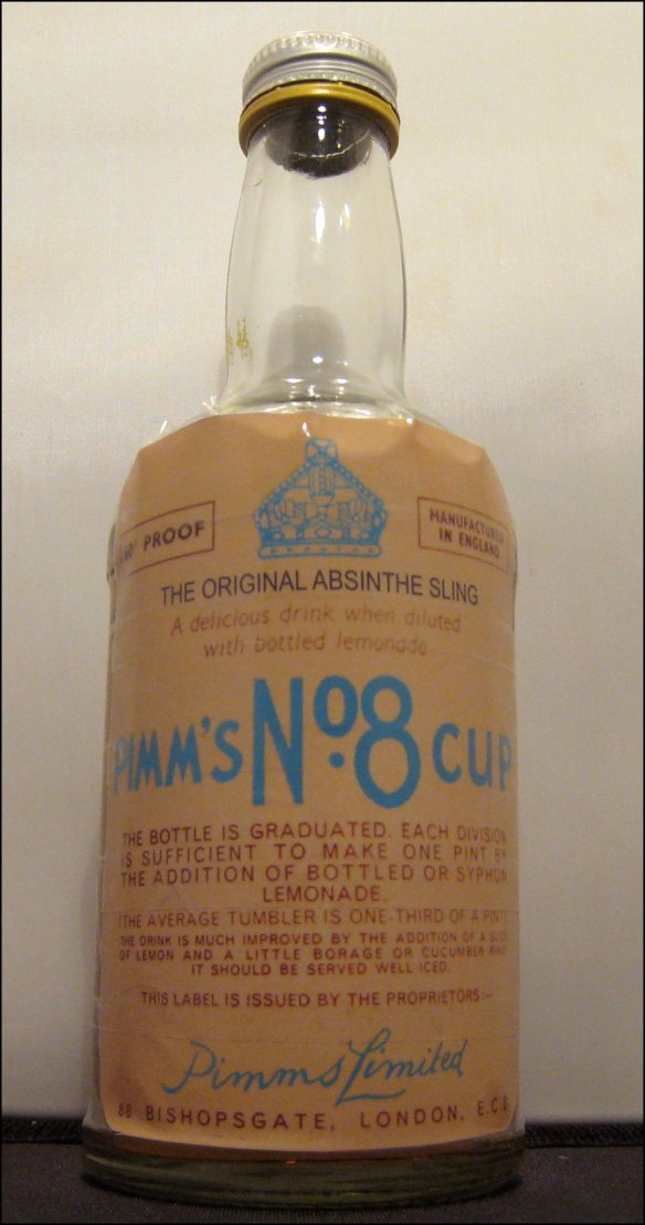 A bottle of Pimm's No8 Absinthe Cup